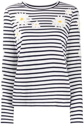 Chinti and Parker floral-print Breton striped T-shirt
