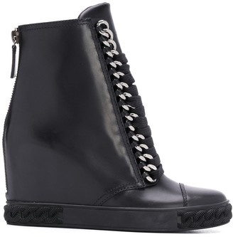 Casadei Wedge Lace Up Boots