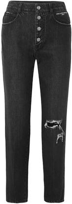 Stella McCartney Distressed Organic High-rise Straight-leg Jeans