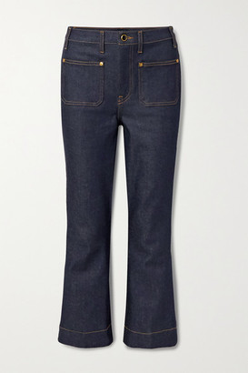 KHAITE Raquel Cropped High-rise Flared Jeans - Mid denim