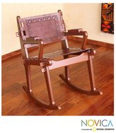 Novica Mohena Wood and Leather 'Modern Inca' Rocking Chair (Peru)