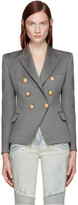 Balmain Grey Double-Breasted Blazer