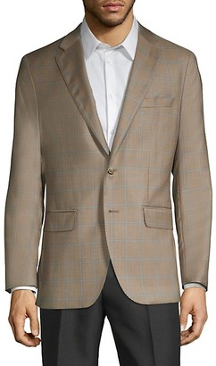 Saks Fifth Avenue Made In Italy Windowpane Wool Silk Blazer