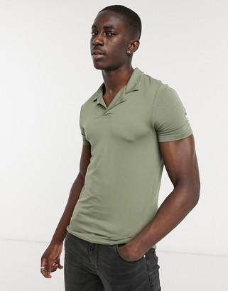 ASOS DESIGN muscle fit viscose camp collar polo in khaki