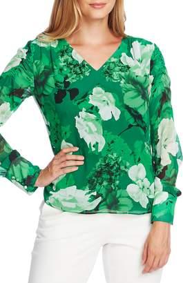 Vince Camuto Watercolor Melody Smocked Shoulder Floral Print Top