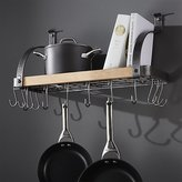 Crate & Barrel Enclume ® Steel and Wood Bookshelf Wall Pot Rack