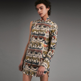 Burberry One-shoulder Reclining Figures Print Shirt Dress