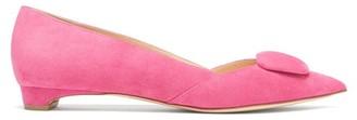 Rupert Sanderson New Aga Pebble Point-toe Suede Flats - Womens - Fuchsia