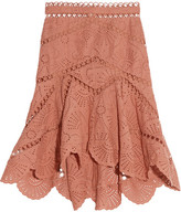 Zimmermann Japser Asymmetric Broderie Anglaise Cotton Mini Skirt - Antique rose