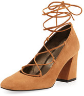 Stuart Weitzman Cordonmid Suede Lace-Up Pump, Toffee