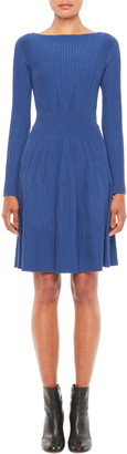 Emporio Armani Variegated Rib Knit Fit & Flare Long Sleeve Dress