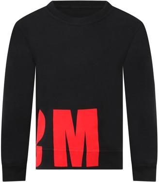 MSGM Black Sweatshirt For Boy With Logo
