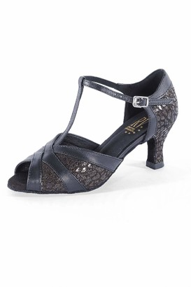 Roch Valley Leah Wide Fit Ballroom Shoe 8 Black/Gold