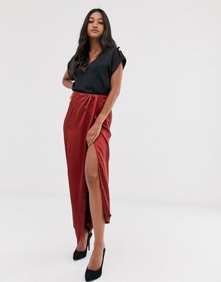 ASOS DESIGN satin wrap front column maxi skirt