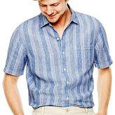 Claiborne Short-Sleeve Striped Linen Shirt
