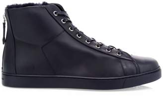 Gianvito Rossi Faux Fur Trim High Top Leather Sneakers