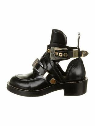 Balenciaga Ceinture Patent Leather Combat Boots Black