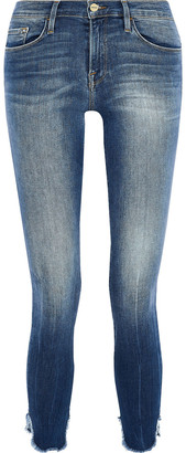 Frame Le Skinny De Jeanne Cropped Distressed Mid-rise Skinny Jeans