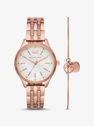 Michael Kors Lexington Rose Gold-Tone Watch and Logo Heart Bracelet Set