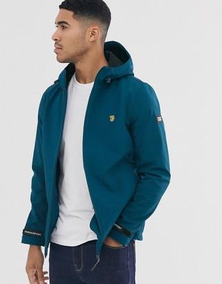 Farah Sport Leyland soft shell hooded jacket in blue