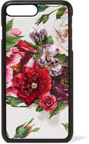 Dolce & Gabbana Embellished Floral-print Textured-leather Iphone 7 And 8 Plus Case - White