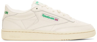 Reebok Classics Off-White and Green Club C 85 Vintage Sneakers