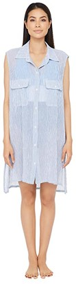 Lauren Ralph Lauren Cotton Crepe Mini Stripe Sleeveless Camp Shirt Swimsuit Cover-Up (Blue/White) Women's Swimwear