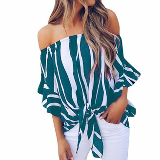 CUTUDE Women Tops Striped Off Shoulder T Shirts Ladies Waist Tie Short Sleeve Casual Blouse (Sky Blue M)