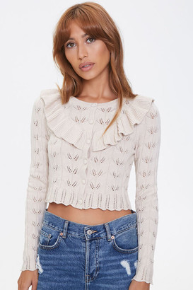 Forever 21 Ruffled Pointelle Buttoned Cardigan