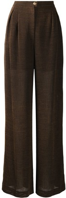 Chanel Pre Owned High-Waisted Wide-Leg Trousers