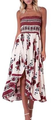 Glowsol Sexy Strapless Ruched Off Shoulder Floral Printing Split Irregular Hem Long Dress for Women Floral white XL