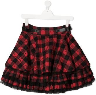 John Richmond Junior TEEN tartan logo skirt