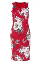 Quiz Red And Cream Floral Print Bodycon Dress