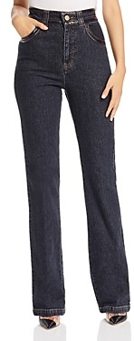 See by Chloe Faux Croc-Embossed Straight Leg Jeans in Black