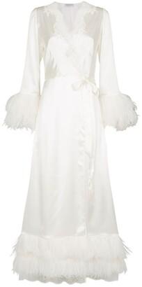 Carine Gilson Satin Feather Trim Robe