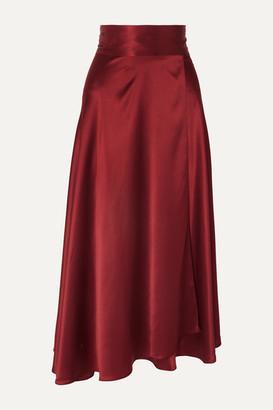 HARMUR - Silk-satin Wrap Midi Skirt - Burgundy