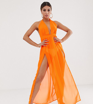 South Beach hot orange double split beach dress