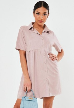 Missguided Tall Pink Faux Suede Relaxed Fit Smock Shirt Dress