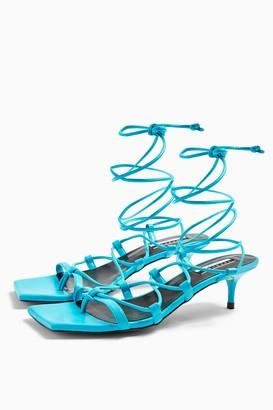 Topshop Womens Considered Viola Vegan Blue Heel Sandals - Blue