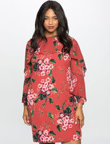 ELOQUII Plus Size Printed Dress with Wrap Around Ruffle