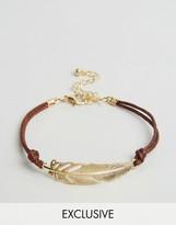 Reclaimed Vintage Feather String Bracelet