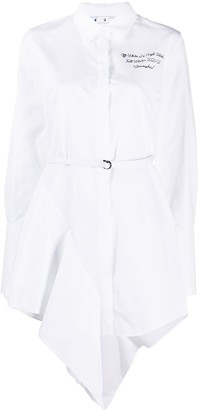 Off-White Asymmetric-Hem Mini Shirtdress