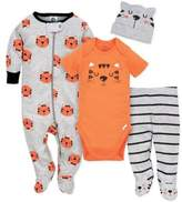 Gerber 4-Piece Tiger Footie, Bodysuit, Pant, and Hat Set in Orange/Grey