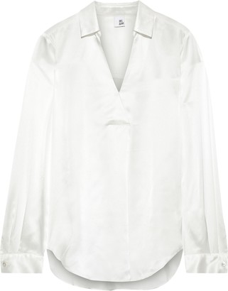 Iris & Ink Lova Pleated Silk-satin Blouse