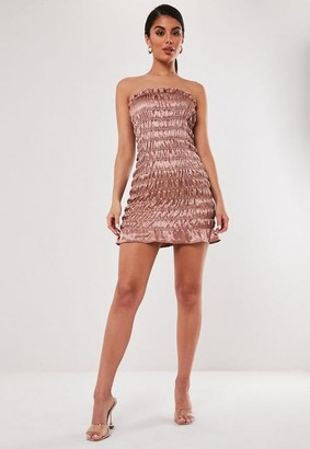 Missguided Petite Rose Gold Ruched Strapless Mini Dress