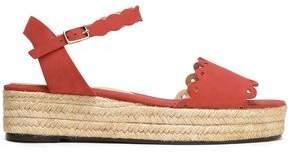 Castaner Ana Scalloped Suede Espadrille Platform Sandals