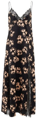 Marina Moscone Lace-trim Floral-print Satin Slip Dress - Black Print