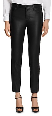J Brand Adele Leather Straight Jeans in Black