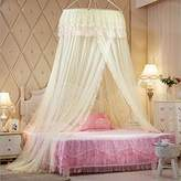 Princess Hanging Round Lace Canopy Bet Netting Mosquito Net for Crib Twin Full Queen Bed Yellow