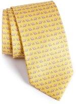 Salvatore Ferragamo Turtle & Frog Print Silk Tie